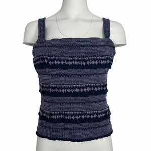 Anthropologie Tank Top XL Striped Smocked Cropped